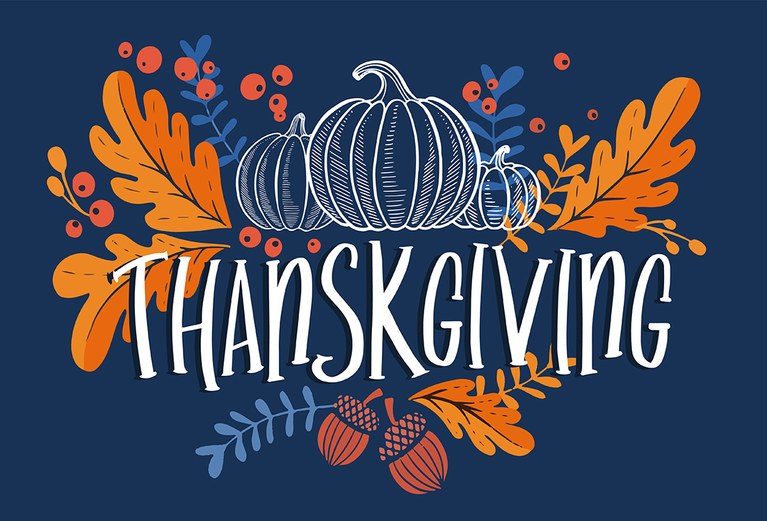 Happy thanksgiving day background with lettering and illustratio
